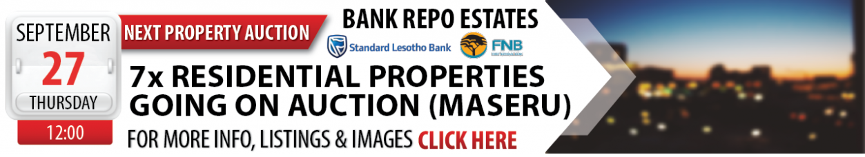 27 SEPTEMBER 2018 - LESOTHO BANK REPO PROPERTY AUCTION