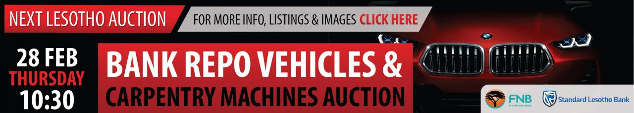Bank Repo Vehicles & Carpentry Machines Auction