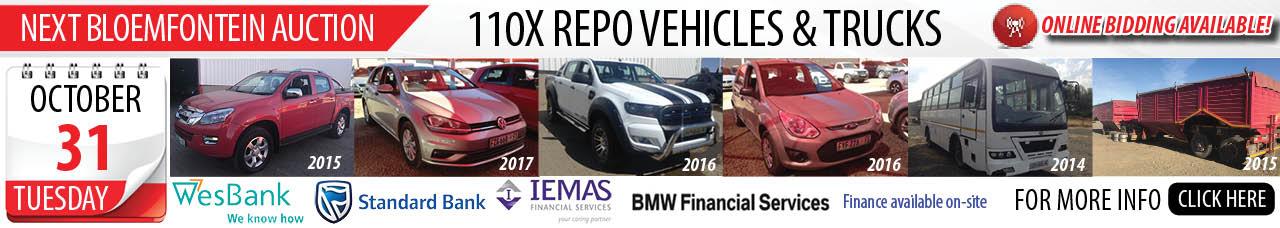 Bloemfontein Bank Repo Vehicle Auction - 31 Oct