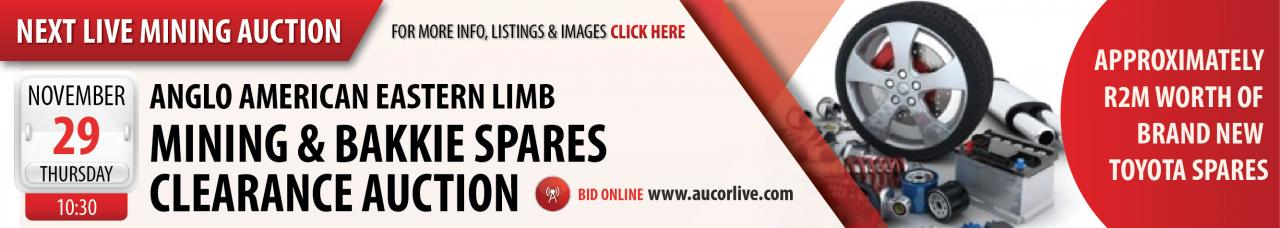 Anglo American Eastern Limb Mining & Bakkie Spares Clearance Auction