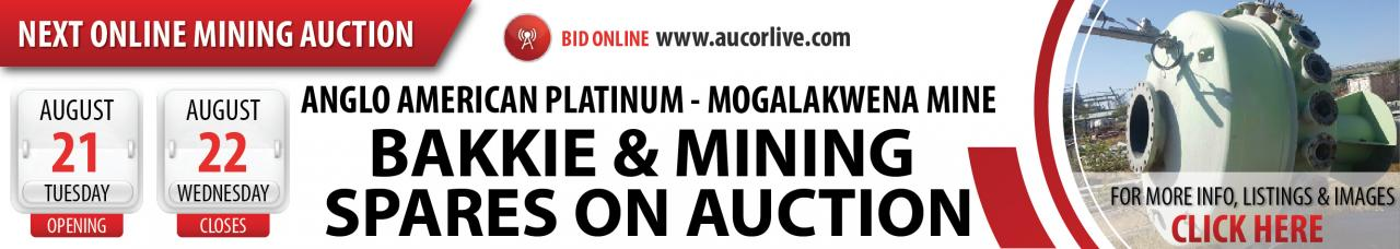 Anglo American Platinum Bakkie & Mining Spares Auction - 21 to 22 August