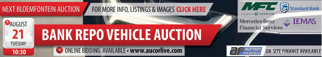 Bloemfontein Bank Repo Vehicle Auction - 21 August