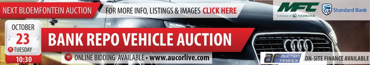 Bloemfontein Bank Repo Vehicle Auction - 23 October