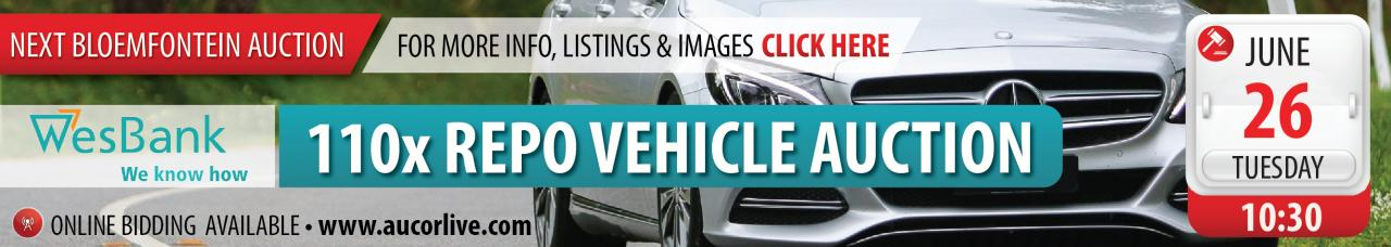 Bloemfontein Bank Repo Vehicle Auction - 26 June