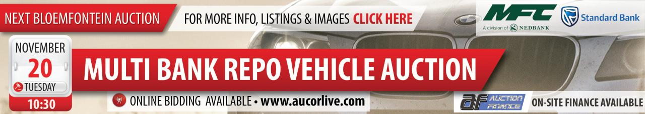 Bloemfontein Multi Bank Repo Vehicle Auction - 20 Nov