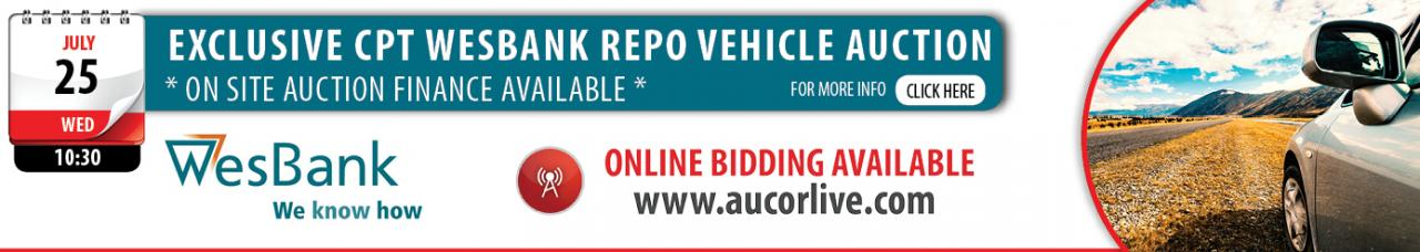 Cape Town Bank Repo Vehicle Auction - 25 July
