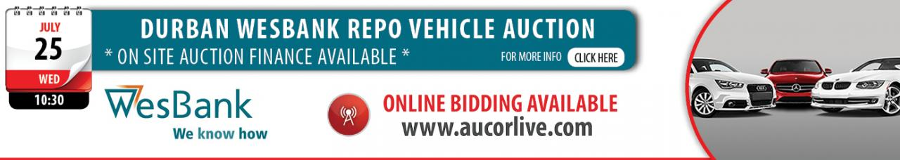 Durban Wesbank Repo Vehicle Auction - 25 July