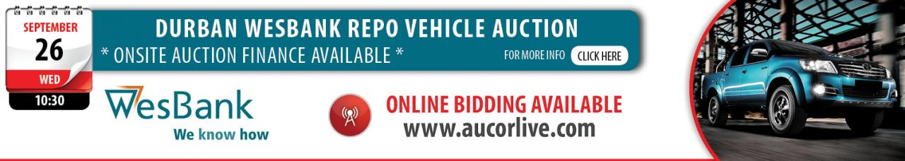 Durban Wesbank Repo Vehicle Auction - 26 September