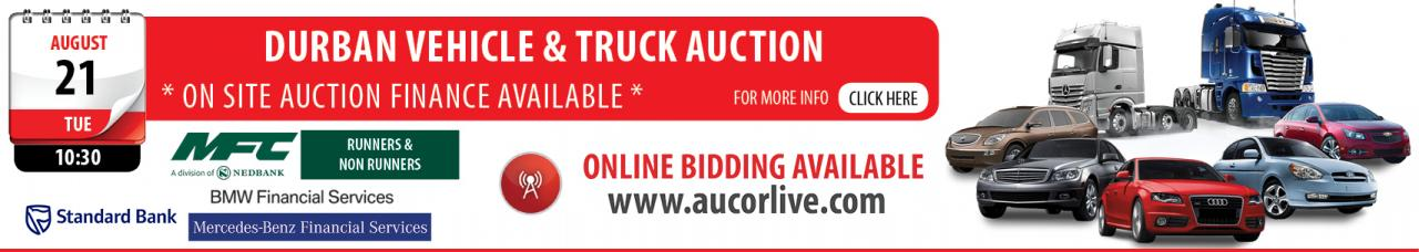 Vehicle & Truck Auction - DBN (Includes releases by MFC (A Division of Nedbank), Standard Bank, BMW & M/Benz Financial Services)