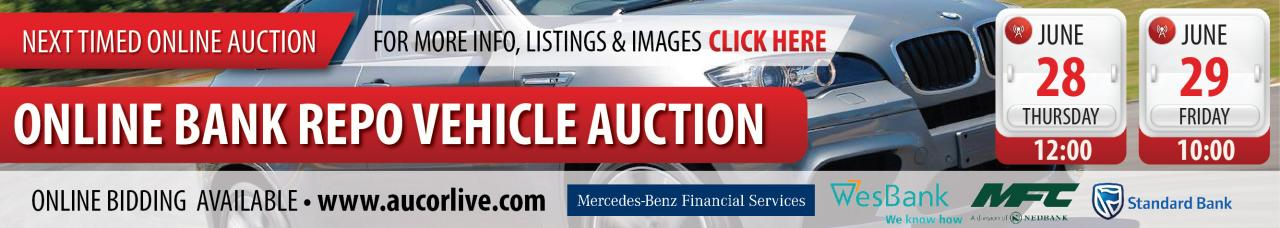 Online Bank Repo Vehicle Auction - 28 & 29 June